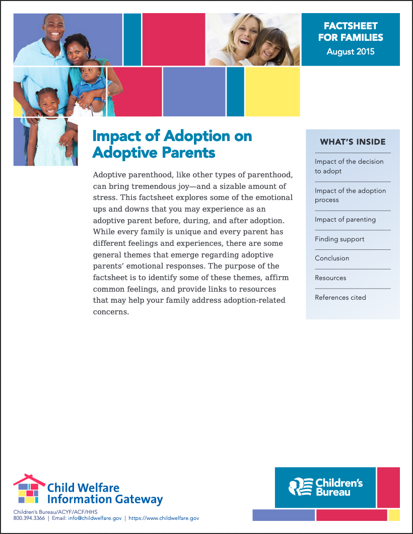 Post Adoption Depression Fact Sheet from childwelfare.gov (2015)